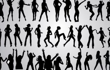 46 Girls Dancing Silhouettes - vector gratuit #174575