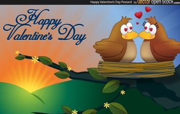 Happy Valentine Postcard - Free vector #174625