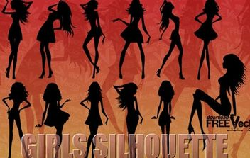 Silhouette of beautiful girls - бесплатный vector #174885
