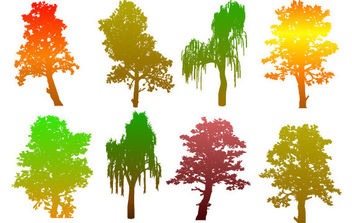 Colorful Tree Silhouettes - Free vector #175385