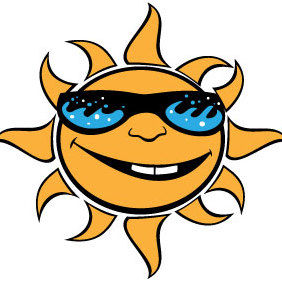 Sun With Glasses Vector - Free vector #175525