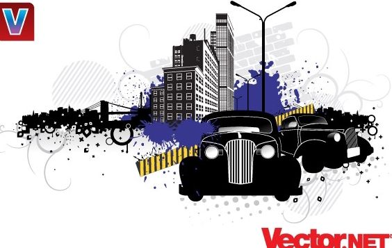 City Street Vector Art with Vintage Cars - бесплатный vector #176045