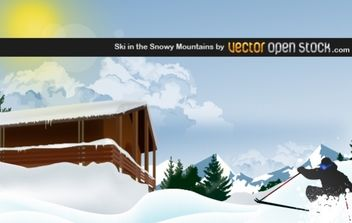 Ski in the Snowy Mountain - vector gratuit #176275