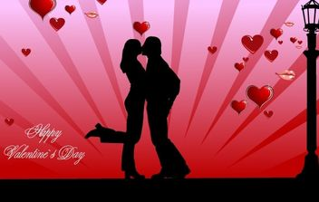 Valentines Day couple kissing - Free vector #176395
