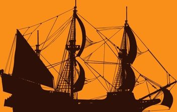 Pirate Ship Vector - Free vector #177075
