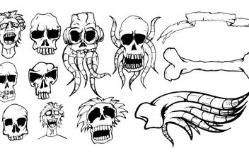 Different types of skulls free vector - бесплатный vector #177205