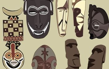 Free vector ancient masks - vector gratuit #177305