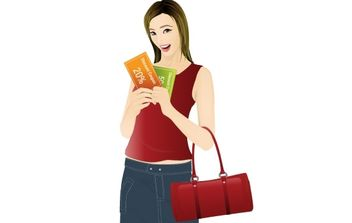 Girl shopping with coupon discount - vector gratuit #177355