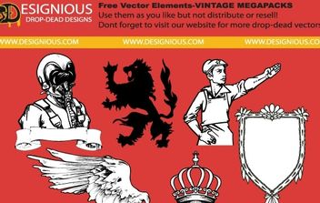 Free vector elements from vintage mega pack - Free vector #177615