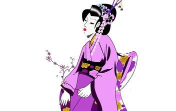 Japanese Geisha Girl - Free vector #177935