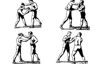 Olde-Time Boxers in Classic Boxing Stances, Punching - vector gratuit #178355
