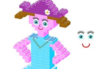 Plastic bricks Girl - Free vector #178475