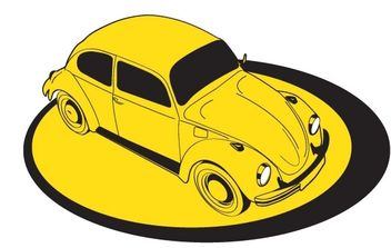 Yellow Volkswagem Beetle on platform - бесплатный vector #178525