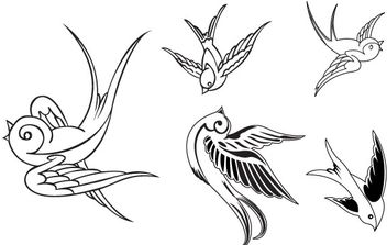 VECTOR BIRDS - SPARROWS - Free vector #178655