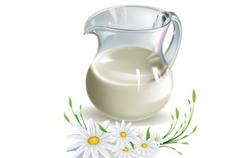 MILK AND CAMOMILE VECTOR - Free vector #178725