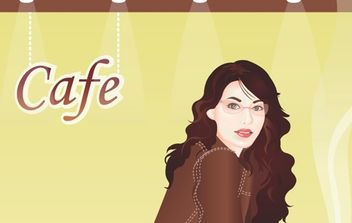 Girl In Cafebar - Free vector #179075
