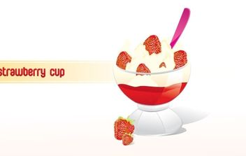 Strawberry Frozen Yogurt Cup - Kostenloses vector #179455