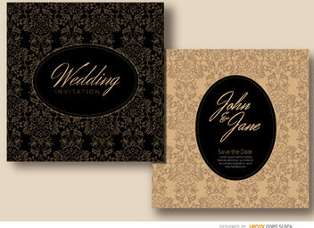 Floral oval wedding invitation - Free vector #179495