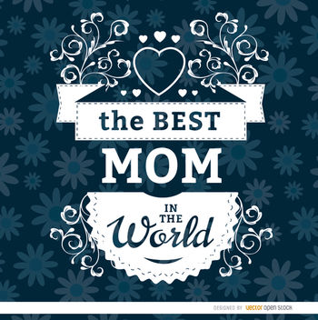 Best mom floral label - Free vector #179515