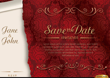 Elegant floral marriage invitation - vector #179555 gratis