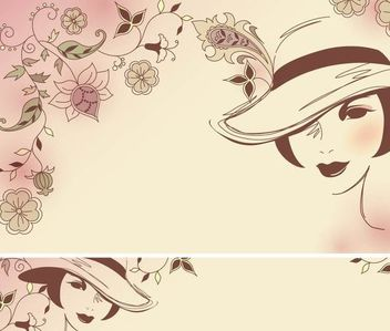 Beauty of Fashion Art with Flowers - vector gratuit #179595