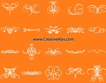 Creative Calligraphic Floral Pack - Free vector #179625