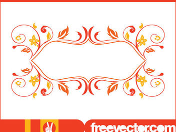 Retro Swirly Floral Frame - Free vector #179635