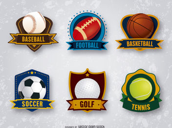 6 sports badges emblems - vector gratuit #179715