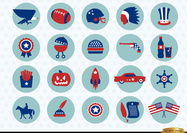 USA national symbols icons pack - Free vector #179755