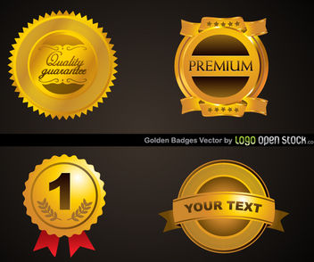 Four Golden Badges Template - vector gratuit #179765
