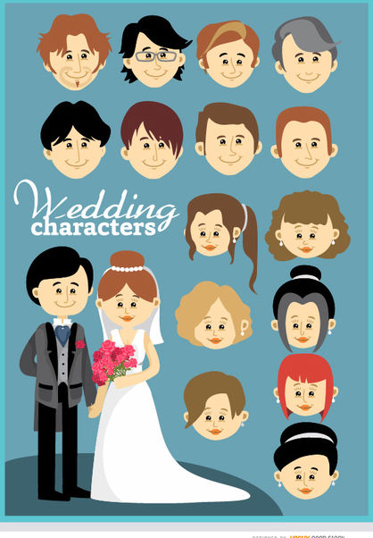 Cartoon custom wedding couple - бесплатный vector #179885