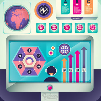 Colorful Retro Technological Infographic - vector gratuit #180025