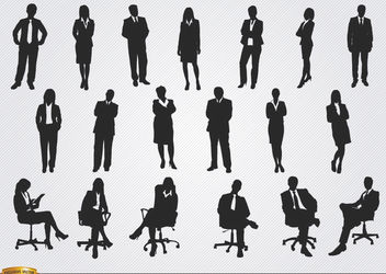 Standing sitting executive men women - vector #180095 gratis