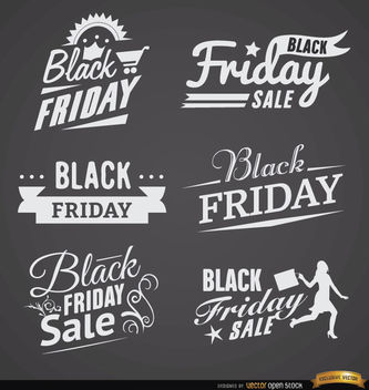 6 Black Friday sales labels - Free vector #180105