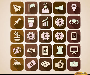 Squared business icons set - vector gratuit #180125