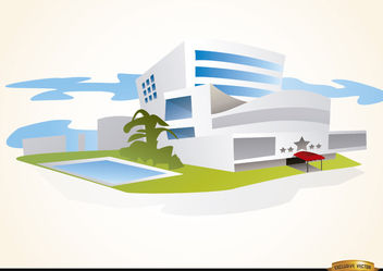 Luxury hotel building with pool - Free vector #180145