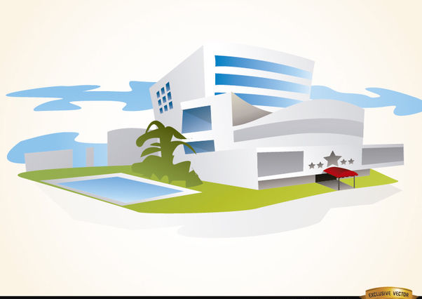 Luxury hotel building with pool - vector #180145 gratis