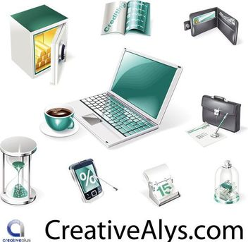 Creative Realistic Business and Web Icon Set - vector gratuit #180155
