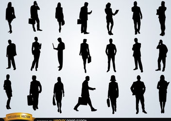 Business people silhouettes - vector gratuit #180185