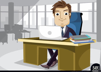 Businessman working at the office with laptop - vector gratuit #180205