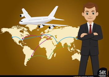 Businessman with Global Map and Airplane - vector #180245 gratis