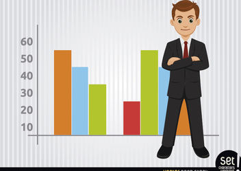 Businessman with colourful charts - Kostenloses vector #180255