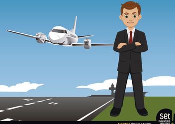 Businessman on an Airport - Free vector #180265