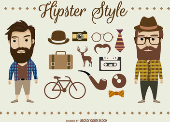 Hipster Characters and elements - бесплатный vector #180325