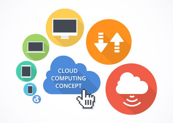 Flat Cloud Computing Concept - бесплатный vector #180345