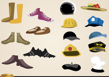 Shoes and hats collections - Free vector #180475
