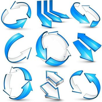 Glossy Blue 3D Arrow Pack - Kostenloses vector #180485