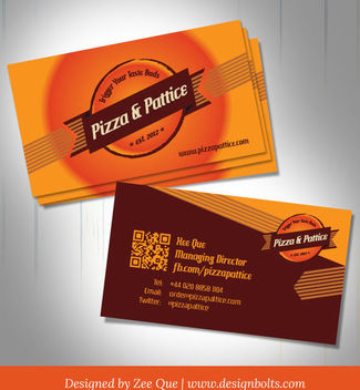 Pizza & Pattice Fast Food Business Card - vector #180505 gratis