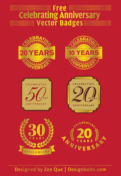 Anniversary Celebration Golden Badges Pack - Free vector #180515