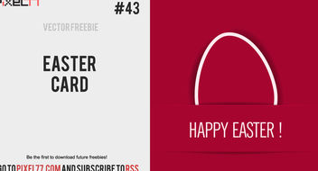 Red Flat Easter Card - vector gratuit #180545